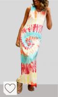 Mejores Vestidos Tie Dye Mujer en Colores del Arcoíris. TwoCC Women 'S Summer Midi Skirt Casual Beach Tie-Dye Print Sexy Vest sin Mangas Vestido de Tobillo Beach T-Shirt Dress Bikini Cover Casual Beach Falda