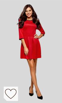 Mejores Vestidos Cortos Rojos para Mujer en Moda Amazon. Tendencias Moda Mujer en Colores del Arcoíris. oodji Ultra Mujer Vestido de Punto con Pliegues en la Falda