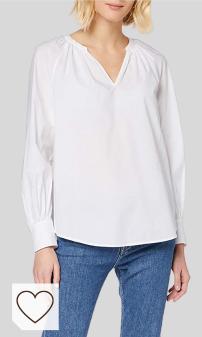 Tendencias Moda Amazon Mujer para otoño invierno 2020. Comprar Blusa Tommy Hilfiger blanca de manga larga. Tommy Hilfiger Lacie Blouse LS Camisa para Mujer