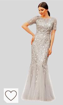 Mejores vestidos de fiesta Amazon Moda. Ever-Pretty Sirena a Fiori Vestido de Noche Lentejuela Tul Vestido de Fiesta Manga Corta Largo EZ07707