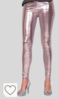 Folat - Leggings con aspecto metalizado - Plata - Talla L-XL. Moda Amazon Mujer