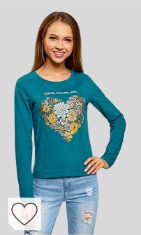 Camisetas Mujer Amazon Moda. oodji Ultra Mujer Suéter de Algodón con Estampado color azul