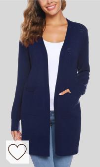 Mejores Chaquetas Mujer Otoño Amazon Moda Otoño. iClosam Cardigan Mujer Invierno Casual Elegante Color SóLido Open-Front Chaqueta Sweater SuéTer De Punto para Women