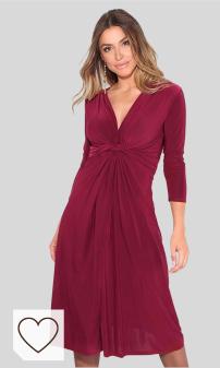 KRISP Vestido Mujer Verano Corto Cruzado Casual Color Rojo