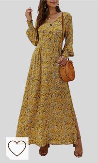 Vestidos Mujer Amarillos Amazon Moda selección Colores del Arcoíris. BEECM Vestido de flores de manga larga con cuello en V, vestido de flores, vestido largo