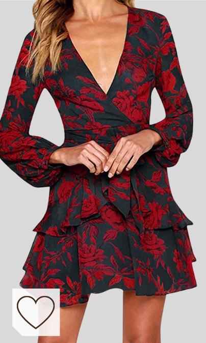 Vestidos Escote en V profundo Amazon Moda Mujer en Colores del Arcoiris. ZODOF Mini Vestido Ropa de Mujer Sexy Hoja de Loto Ocio Vestido de Noche de Manga Larga Color sólido Mujeres Volantes de Verano Floral Dot Imprimir V Cuello Sexy Mini Vestido Corto Vestido