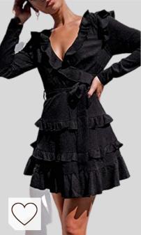 Vestidos Mujer Cuello en V Moda Mujer Amazon en Colores del Arcoíris. Elegante vestido de cuello en V para mujer, color negro, de manga larga, con volantes, mini vestido de fiesta de otoño, poliéster, negro, Small