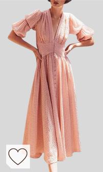 Vestido Cuello en V Amazon Moda Mujer en Colores del Arcoíris. Mujer Hermoso Vestidos Faldas Algodon Otoño Invierno 2019 De Vuelta a la Escuela Casual Dress de Partido Manga de Linterna de Doble Capa con Cuello en V Vestidos