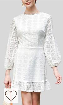 Vestido blanco mujer otoño 2020 en Amazon Moda. Miwaimao Europe 2020 Otoño Color Sólido Cuello Redondo Halter Vestido Puff