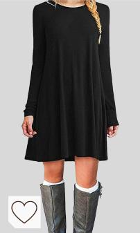 Mejores Vestidos Negros en Moda Amazon y en Colores del Arcoíris. ZNYSTAR Mujeres Suelto Casual Vestido de Camiseta Cuello Redondo