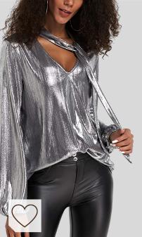 Mejores Camisas y blusas mujer Moda Amazon. YOINS Camiseta Manga Larga Mujer Camisa Cuello V Blusa Brillante Metálico Sexy Tops Mangas Acampanadas