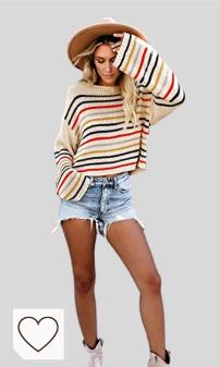 Mejores sudaderas y jerseys otoño 2020 Amazon Moda Mujer. FIYOTE - Jersey de punto para mujer, suelto, manga larga, ligero, transpirable, diseño de rayas arcoíris