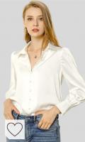 Blusa Mujer Blanca Manga Larga Otoño. Allegra K Blusa De Trabajo Botón Abajo Cuello Vuelto Manga De Soplo Camisa Clásica para Mujeres