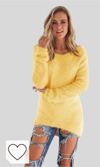 Mejores Jerseys Mujer Amazon Moda selección en Colores del Arcoíris. SHOBDW Mujer Suéter para Mujer Cuello Redondo Cárdigan Ocasional Sólido Suelto Otoño Invierno Tops de Manga Larga Cálido Prendas de Punto Jersey Jerséis Blusa Abrigo Vestido