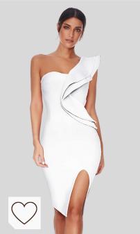 Mejores vestidos blancos de fiesta para mujer. meilun vestido de fiesta para mujer con un hombro y volantes