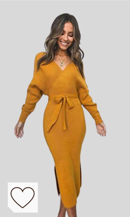Vestidos Mujer Cuello en V Amazon Moda. Vestido Mujer Escote en V en amazon. Aswinfon Mujer Vestido de Punto Larga Cuello en V Otoño Invierno Vestidos Fiesta Largos Casual Bodycon Damas