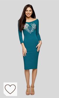 Mejores vestidos azules en Amazon Moda selección Colores del Arcoíris. Tendencias Moda Mujer Otoño Invierno 2020. oodji Ultra Mujer Vestido Ajustado con Escote Barco