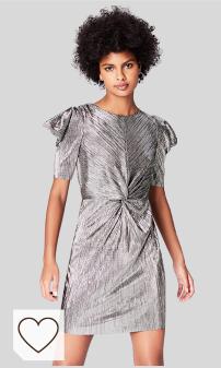 Marca Amazon - find. Vestido Plisado para Mujer color plata