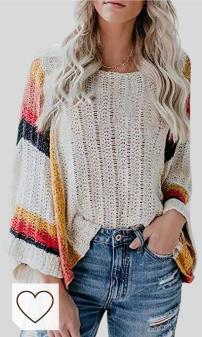Mejores Sudaderas y Jerseys Amazon Moda otoño en Colores del Arcoíris. Dokotoo - Jersey informal de punto para mujer, estampado de arcoíris