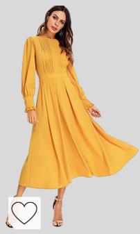 Tendencias Moda Mujer Otoño Invierno 2020. Moda Amazon Vestidos Otoño Amarillo. SOLY HUX Mujer Vestidos Manga Larga, Coctel Vestido, Fruncido Original Vestido. sólido Damas para Fiestas Diario