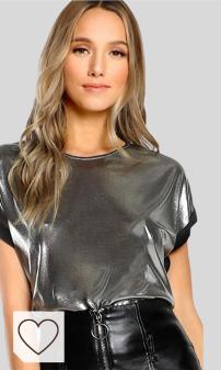 Moda, Mujer, Camiseta Plateada de Manga Corta con Cuello en O. Moda Amazon Otoño Invierno 2020