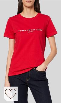 Mejores Camisetas Mujer Rojo en Moda Amazon. Tommy Hilfiger New TH ESS Hilfiger C-nk tee SS Camiseta para Mujer