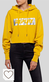 Sudadera REPLAY Women's Silver Logo Crop Hoodie Amazon Moda otoño invierno 2020