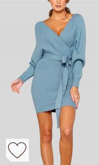 Vestido Mujer Cuello en V Amazon Moda. GUOCU Mujeres Otoño Invierno Vestido de Suéter Manga Larga Escote en V Color Sólido Corte Ajustado Tejer Cóctel Fiesta Mini Vestidos amazon