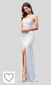 Vestidos de Fiesta Amazon Moda para mujer. Ever-Pretty Abertura Vestido de Fiesta Lentejuelas Mujer Largo Escote en V Correas de Espagueti Chic 00609