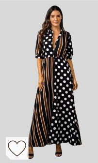 Vestido Mujer Escote en V Amazon Moda en Colores del Arcoíris. Vestidos Largos Vestidos de Fiesta Mujer para Bodas, Dragon868 Vestido de Lunares de Rayas con Bloque de Color, Bohemio Vestidos de Cuello En V de Manga Larga Rebajas
