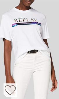 Mejores Camisetas Mujer Replay en Amazon Moda. REPLAY Camiseta para Mujer blanca Replay