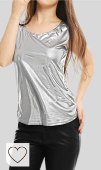 Allegra K Mujer Camiseta Sin Mangas Estilo Metálico Cuello U Neck Ajustado Día De San Patricio. Moda Amazon para Mujer otoño invierno 2020