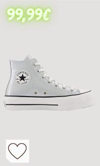 Zapatillas Converse Mujer Moda amazon. Converse Chuck Taylor All Star Lift Metallic Classics Hi Plateado/Negro (Silver/Black) Tela Adulto Entrenadores Zapatos