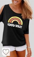 Camiseta Arcoíris Good Vives Amazon Moda Mujer Rainbow. YOINS Mujer Camiseta Sin Mangas Chaleco Manga Corta Chaleco Sin Hombros Chaleco Casual con Cordones Chaleco Deportivo Mini Vestido Tops
