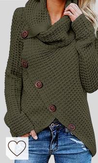 Jersey Otoño Invierno Mujer Moda Amazon Mujer en Colores del Arcoíris. kenoce Jersey Mujer Jersey de Cuello Alto Mujer Jersey Grueso Pullover Jersey Jersey Dobladillo Asimétrico