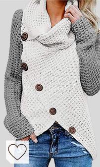 Jersey Punto Grueso Moda Mujer Amazon. kenoce Jersey Mujer Jersey de Cuello Alto Mujer Jersey Grueso Pullover Jersey Jersey Dobladillo Asimétrico