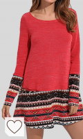 Vestido Punto Mujer Otoño Invierno Mujer Amazon Moda Mujer en Colores del Arcoíris. CNFIO Mujer Vestido Cuello Redondo Manga Larga Plus Tamaño Tops Moda Jersey Punto Mujer