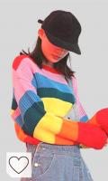 Sudaderas Rayas Arcoíris Mujer Amazon Moda Mujer. Suéteres Y Jerséis para Mujer Suéter de Otoño Jersey de Rayas Arcoiris Blusa Suéter de Cuello Redondo Delgado, O&YQ, rojo, Talla única