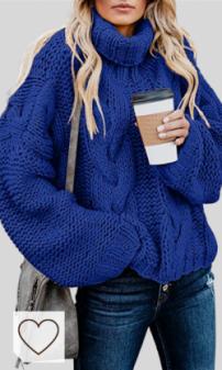 Jersey Punto Grueso Azul Otoño Invierno Mujer Moda Mujer Amazon. Aleumdr - Jersey de punto de cuello cisne para mujer, jersey amplio de invierno, tallas S-XL
