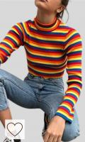 Sudaderas y Jerseys Arcoíris Moda Mujer Amazon Rainbow. Aawsome - Suéter de manga larga para mujer, diseño de rayas de arco iris, color corto, bodycon acanalado, jersey básico
