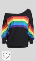 Camisetas y Sudaderas Mujer Amazon Moda Mujer Arcoíris. Lenfesh Sudadera de Estampado arcoíris Mujer Camisetas Tops Manga Larga sin Hombros para Mujer Sudadera Casual de otoño Invierno