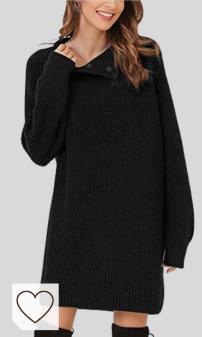Vestido Punto Otoño Invierno Mujer Moda Amazon Mujer en Colores del Arcoíris. Woolen Bloom Mujeres Vestido Jersey Invierno Cuello Alto con Botón Vestido de Punto Suéter Ajustado Cuello Chaqueta para Mujer Fiesta Negocios