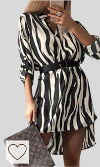 Vestido Camisero Mujer Amazon Moda Mujer en Colores del Arcoíris. Vestido Animal Print Amazon Moda Mujer. Mujer Vestido Camisero Midi Vestidos Estampado Animal Manga Larga Cuello En V A La Moda