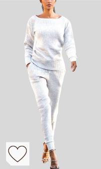 Chándal Blanco Mujer Amazon Moda Mujer en Colores del Arcoíris. Mxjeeio- Chandal Conjunto De Punto Chándal Invierno Otoño Mujer Color Sólido Algodón Elasticidad Training Fitness Yoga Sports Top Pantalones De Yoga Sports Pantalones 2 Piezas Conjuntos