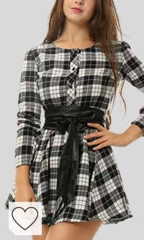 Vestido Camisero Mujer Amazon Moda Mujer en Colores del Arcoíris. Marca Amazon - Allegra K Vestido Acampanado De Cuadros Mangas Largas con Cinturón Vestido Mini Camisero para Mujer Disfraz De Halloween