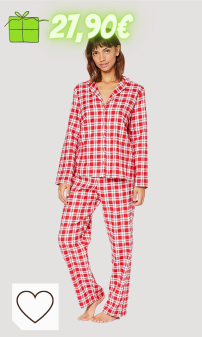 Mejores regalos navidad Amazon Navidad Mujer en Colores del Arcoíris. Marca Amazon - IRIS & LILLY Pijama de Modal Mujer