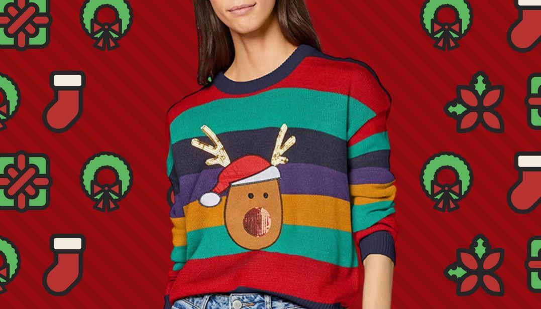Jersey Navidad Mujer Amazon Moda Mujer Navidad en Colores del Arcoíris