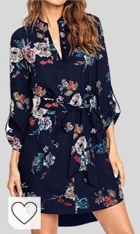 Vestido Camisero Mujer Amazon Moda Mujer en Colores del Arcoíris. kenoce - Vestido de manga larga para mujer, con cuello en V, cuello en V, liso, informal, con cinturón y bolsillos