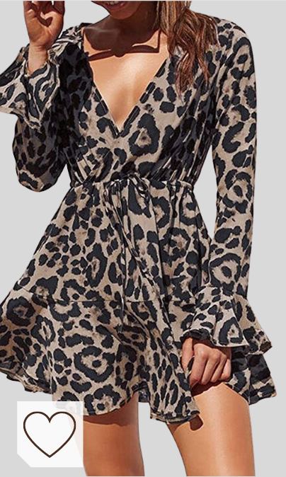 Vestido Animal Print Mujer Amazon Moda Mujer en Colores del Arcoíris. Amazon Fashion. Yoins - Vestido de verano para mujer, corto, cuello en V, sin hombros, elegante, vestido de playa, minivestido de fiesta