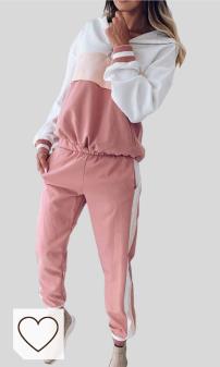 Chándal mujer Amazon Moda Mujer en Colores del Arcoíris. Yying Mujeres 2 Piezas Conjunto Cremallera Patchwork Sudaderas con Capucha Superior y Pantalones Sudadera Casual Dos Piezas otoño Streetwear Chándal Diario